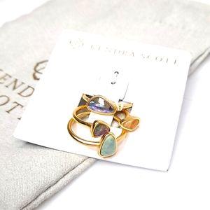 Kendra Scott Ivy Ring Set Gold Iridescent NWT